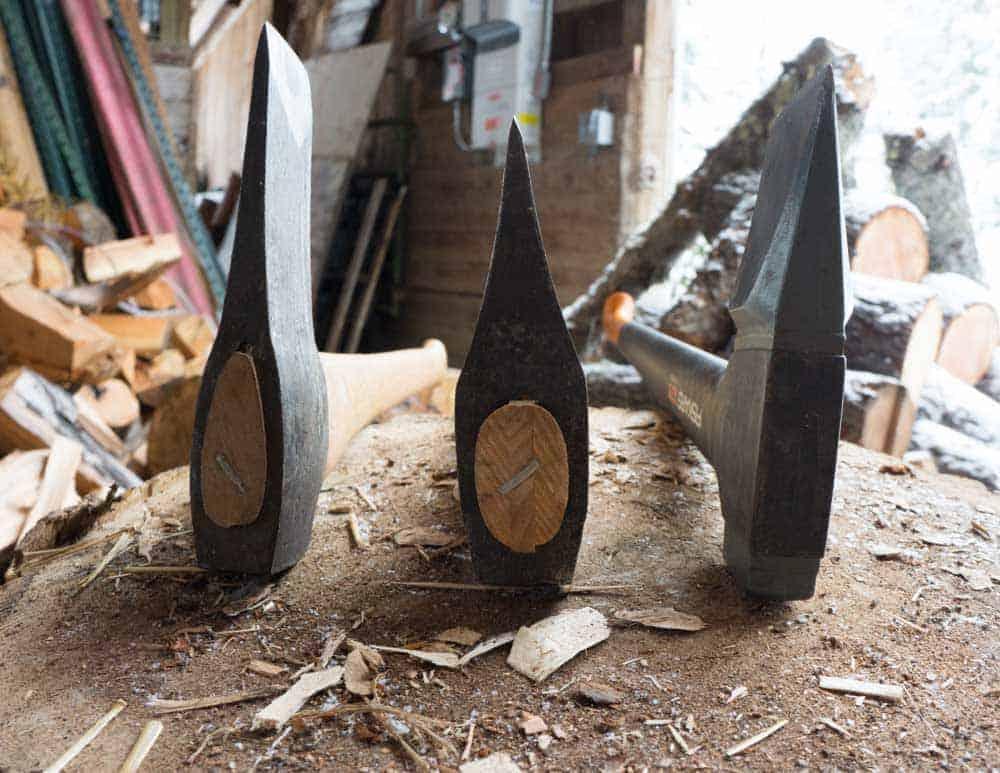 Splitting axes from left to right: Wetterlings, Gransfors and Fiskars
