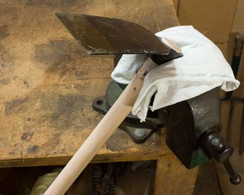 How to sharpen garden tools - hoe in vise